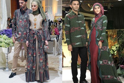Contoh Baju Muslim Batik Modern 2018 2 - Sarimbit Modern dan Trendy
