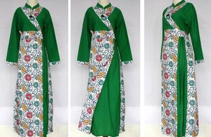 Contoh Baju Muslim Batik Modern 2018 4 - Motif batik Modern Warna Hijau