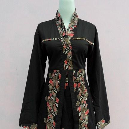 Contoh Baju Muslim Batik Modern 2019 5 - Gamis dan baju batik warna hitam anggun