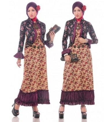 Contoh Baju Muslim Batik Modern 2018 7 - Lengan duyung dan blazer