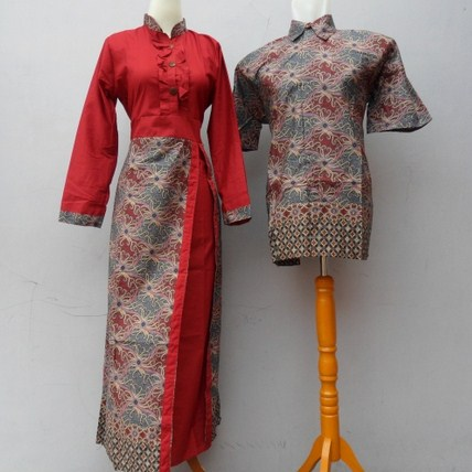 Contoh Baju Muslim Batik Modern 2018 9 - Batik Sarimbit Marun Oke