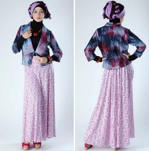 Contoh Desain Baju Muslim Wanita Masa Kini Oke 10 - Model Abstrak Longgar