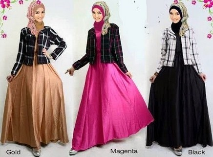 Contoh Desain Baju Muslim Wanita Masa Kini Oke 2 - 3 Rok Lingkar A lebar