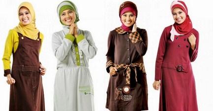Contoh Desain Baju Muslim Wanita Masa Kini Oke 4 - Gamis dan model hijabnya