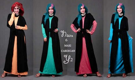 Contoh Desain Baju Muslim Wanita Masa Kini Oke 5 - Warna Hitam Kombinasi Colorful