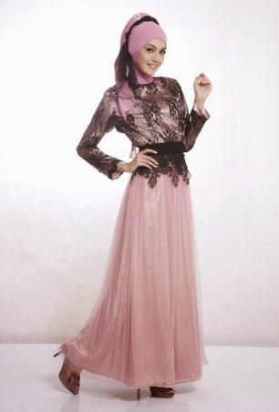 Contoh Desain Baju Muslim Wanita Masa Kini Oke 6 - Baju Muslim Brokat Pesta