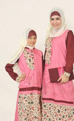 Contoh Model Baju Batik Muslim Anak Terbaru dan Terbaik 1 - Warna Pink Remaja