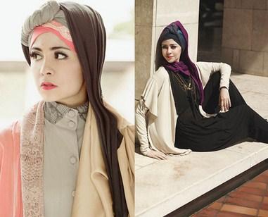 Contoh Model Baju Muslim Artis Risty Tagor 1 - WArna Kalem Cantik