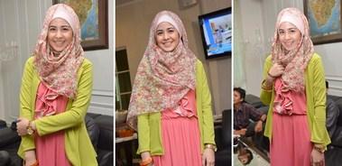 Contoh Model Baju Muslim Artis Risty Tagor 8 - Hijab menutup dada ala Risty