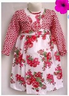 Contoh Model Desain Baju Muslim Bayi Balita Terbaru 10 - Full Motif Polkadot dan Bunga