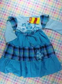 Contoh Model Desain Baju Muslim Bayi Balita Terbaru 2 - Gamis Dress baby Warna Biru Plus Jilbab Lucu