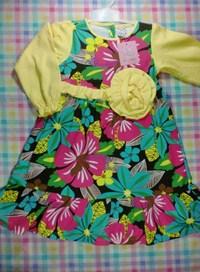 Contoh Model Desain Baju Muslim Bayi Balita Terbaru 3 - Motif Bunga Ikat Pinggang