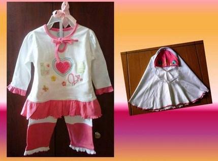 Contoh Model Desain Baju Muslim Bayi Balita Terbaru 5 - Warna Putih Baju dan Celana plus Jilbab Imut