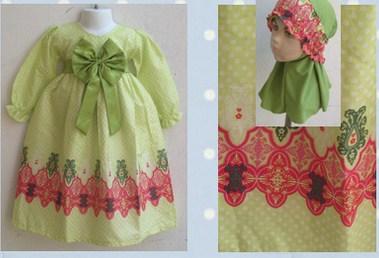 Contoh Model Desain Baju Muslim Bayi Balita Terbaru 6 - Polos Pita Besar plus Hijab Kerut