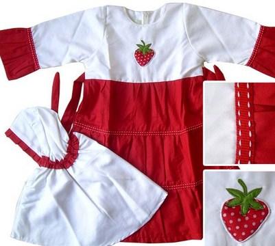 Contoh Model Desain Baju Muslim Bayi Balita Terbaru 8 - Warna merah Putih Ceria gambar buah