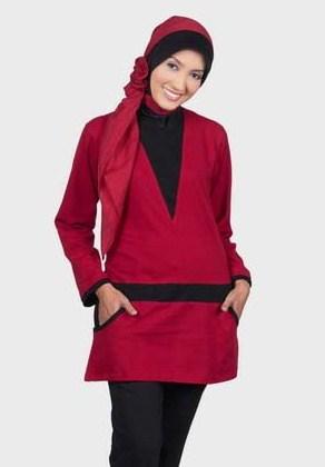 Contoh Model Kaos Muslim Remaja Trendy Terbaru 1 - Warna Marun