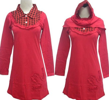 Contoh Model Kaos Muslim Remaja Trendy Terbaru 3 - Polos Kombinasi Kotak dan berkerah