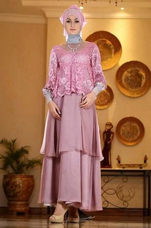 Gambar Contoh dan Model Baju Muslim Pesta Terbaru 1 - Pink Kalem