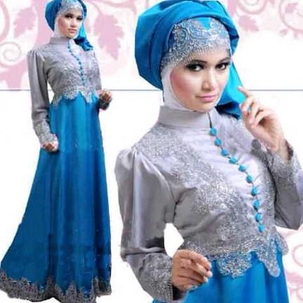 Gambar Contoh dan Model Baju Muslim Pesta Terbaru 10 - Warna Biru Brokat dan Model Hijab Muslimah