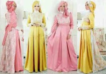 Gambar Contoh dan Model Baju Muslim Pesta Terbaru 3 - Kuning vs Pink