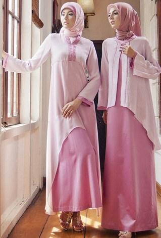 Gambar Contoh dan Model Baju Muslim Pesta Terbaru 5 - Model Baju Islam untuk Pesta Warna Pink Putih