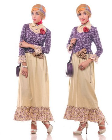 Gambar Contoh dan Model Baju Muslim Pesta Terbaru 8 - Desain Baju Muslim Simpel untuk Pesta Floral