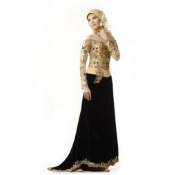Contoh Baju Muslim Model Kebaya Modern Terbaik 10 - Gold dan warna Hitam