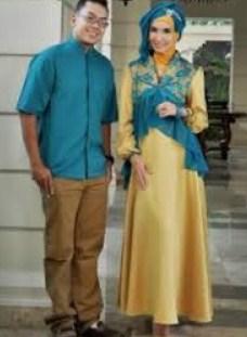 Contoh Model Baju Muslim Couple Populer 2018 10 - Biru dan Emas