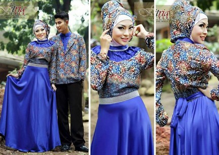 Contoh Model Baju Muslim Couple Populer 2018 4 - Gaun Batik Trendy dan Jas Lelaki Couple