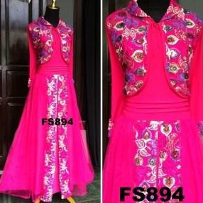 Contoh Model Baju Muslim Lebaran Idul Fitri Terbaru 2 - warna Pink Fusya Keren