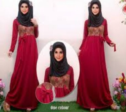 Contoh Model Baju Muslim Lebaran Idul Fitri Terbaru 3 - Warna Merah marun
