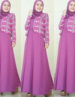 Contoh Model Baju Muslim Lebaran Idul Fitri Terbaru 5 - Blazer Ungu Kotak-Kotak