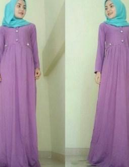 Contoh Model Baju Muslim Lebaran Idul Fitri Terbaru 6 - Baju Simpel Gamis Panjang