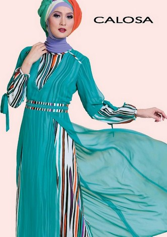 Contoh Model Baju Muslim Lebaran Idul Fitri Terbaru 9 - Garis-garis dan polos