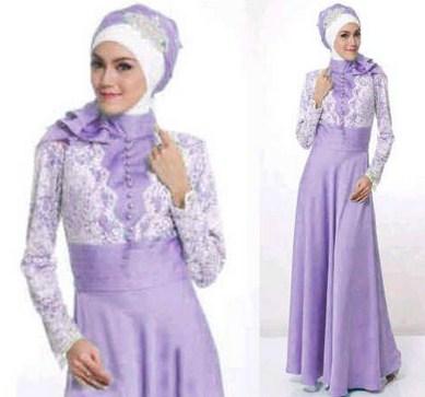 Contoh Model Desain Baju Muslim Brokat Terbaru 2015 1 - Brokat Kombi satin Terbaru Modern