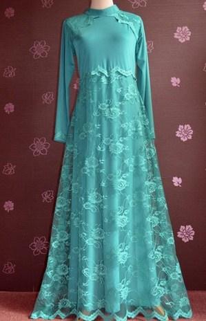 Contoh Model Desain Baju Muslim Brokat Terbaru 2019 10 - Brokat Sebagian untuk ke pesta