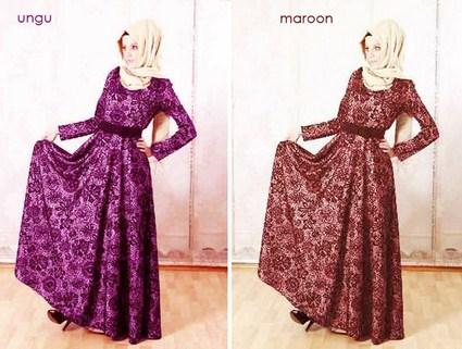 Contoh Model Desain Baju Muslim Brokat Terbaru 2019 2 - Gaun Muslim ke Pesta Brokat Modern