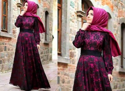 Contoh Model Desain Baju Muslim Brokat Terbaru 2015 4 - Brokat Furing Baju Muslim Terbaru semi formal