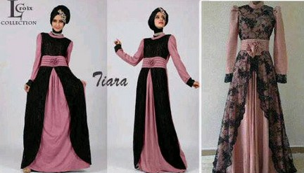 Contoh Model Desain Baju Muslim Brokat Terbaru 2015 5 - Koleksi Baju Muslim Polos Brokat dan Bahan kaos