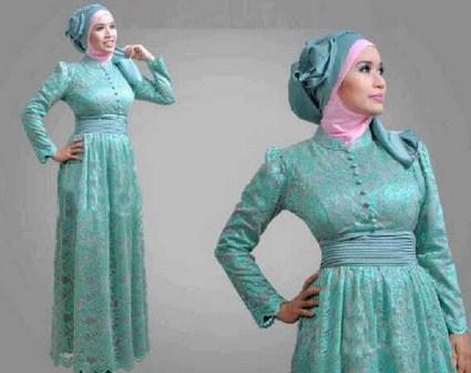 Contoh Model Desain Baju Muslim Brokat Terbaru 2015 7 - Model hijab busana muslim brokat terbaru modern