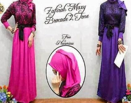 Contoh Model Desain Baju Muslim Brokat Terbaru 2019 9 - Gaun Brokat Muslim Semi Formal Pesta dan Hang Out