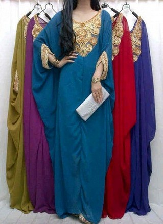 Contoh Trend Model Baju Muslim Kaftan Terbaru 2018 2 - Aplikasi Dada dan Tepi Lengan