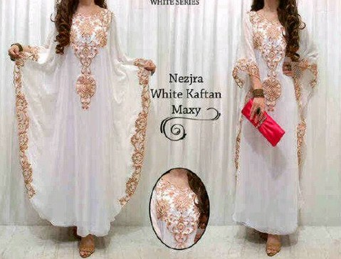 Contoh Trend Model Baju Muslim Kaftan Terbaru 2018 6 - Kaftan Putih Elegan Bentuk Lingkar