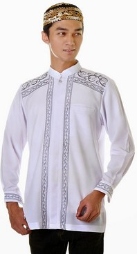 Contoh Gambar Model Baju Muslim Pria Terbaru 2019 14 - Warna Putih Kombinasi
