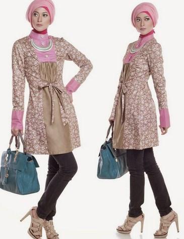 Gambar Model Baju Muslim Gaul Masa Kini 2015 4 - Baju Muslim Kerja Gaul Kombinasi Celana Kain