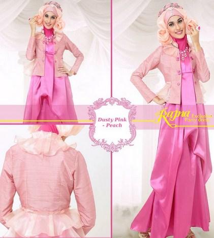 Gambar Model Baju Muslim Gaul Masa Kini 2018 6 - Gamis Pesta Gaul Warna Pink Terbaru