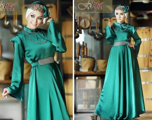 Model Baju Gamis Muslim Pesta Terbaru 2015 8 - Gaun Polos Cantik dengan Belt Terbaru
