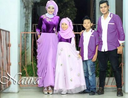 Model Baju Keluarga Muslim Couple Terbaru 9 - Warna Ungu untuk Keluarga