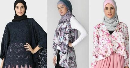 Model Desain Baju Hamil Muslim Buat Lebaran 2 - Kain Brokat dan Blazer Motif
