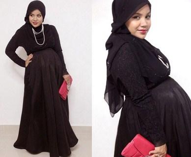 Trend Model Busana Baju Hamil Muslim Paling Baru 4 - Gaun Hitam untuk Ibu Hamil Muslim